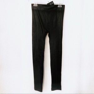 NWT Faux Leather fleece lined black leggings S/M
